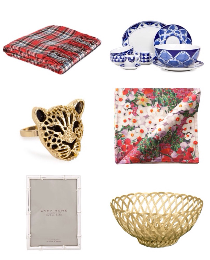 Zara Home Plaid Throw Blue Dishes Leopard Napkin Ring Floral Table Cloth Gold Basket Picture Frames